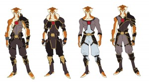Tygra concept 3. Here's something to flip your wig. I did an alternative costume sets for Tygra early on and spun it again with a different color scheme. Even with the face, we were exploring looks for the show. (Dan Norton Jun 2012)