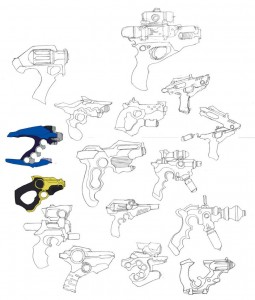 Tygra gun concept group. This was a shotgun approach to figuring out a design for Tygra's gun. I tried a variety of looks from Star Trek phasers to steam punk motifs. If you notice in the bottom, right about center. Was where we settled for the look. Was going to color them too, just ran out of time. That bullet train never stops.... (Dan Norton Apr 2012)