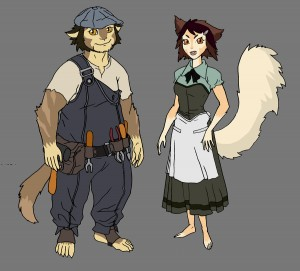 WilyKit and WilyKat's parents concept. So here are the concepts for the Wily twins. I initially gave a tool belt to the father, but the tools looked a little to modern. The mom was a dangerously close to looking like a waitress at a diner but with some color adjustments, she turned out. (Dan Norton May 2012)